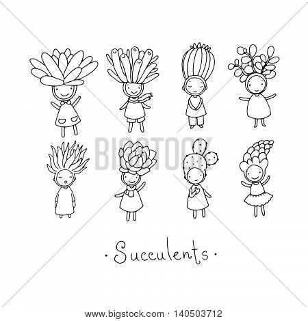 Graphic set with cute cartoon succulents. Little funny fairy. Hand drawing isolated objects on white background. Vector illustration. poster