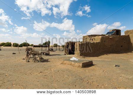 hut Berber in the Sahara desert with solar battery