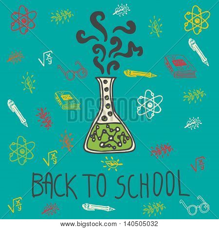Back to school hand drawn doodle card with chemical flask and other school facilities. The chemical flask on blue background
