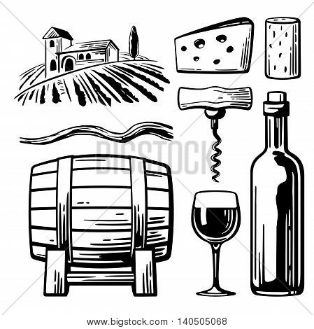 Rural landscape with villa, vineyard fields and hills. Bottle, glass, corkscrew, vine, cork, barrel, cheese. Black and white vintage vector illustration for label, poster, web, icon.
