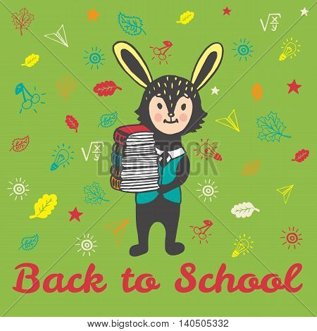 Back to school hand drawn doodle card with Bunny student. The Bunny student holding a stack of books on green background