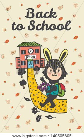 Back to school hand drawn doodle card with Bunny student. Bunny student going to school on beige background