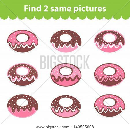Children's educational game. Find two same pictures. Set of donuts for the game find two same pictures. Vector illustration.