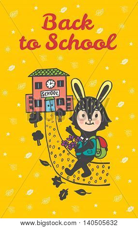 Back to school hand drawn doodle card with Bunny student. Bunny student going to school on yellow background