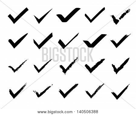 Check mark icons in grunge style vector