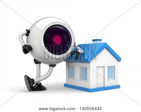Home security concept - Robot CCTV camera. 3d illustration poster
