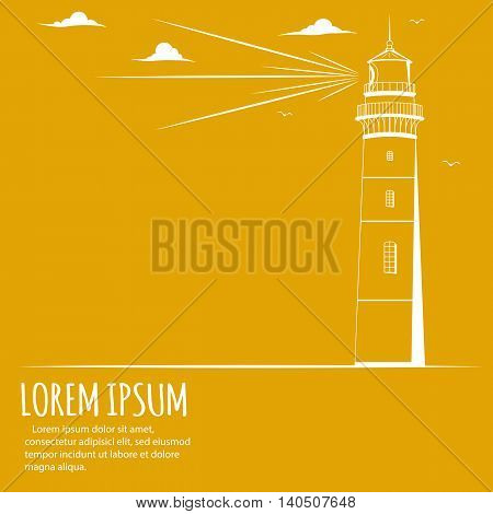 Poster with Lighthouse. Lighthouse logo. Lighthouse with light beam, clouds, birds. Lighthouse postcard