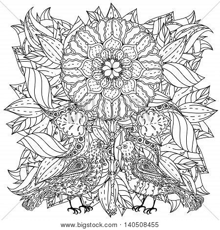 Contoured mandala shaped flowers and birds for adult coloring book or art therapy style zen drawing. Hand-drawn, stylish doodle in tatto style, for coloring book or fabric design in vector.