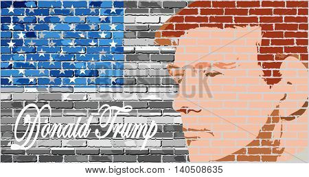 Donald Trump - Illustration, USA flag with Donald Trump inside,  Abstract portrait of Republican Presidential Candidate Donald Trump