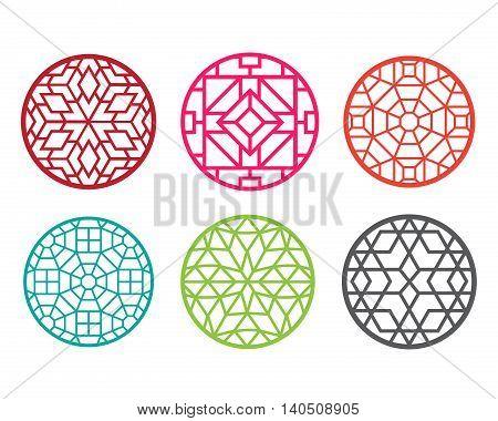 Modern round Chinese pattern window frame vector