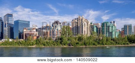 Condo towers in urban Calgary along the Bow River