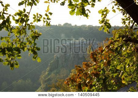 The view over a small Medieval town Calcata in Central Italy near Rome