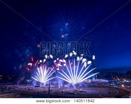 CALGARY, CANADA - JULY 8: Fireworks at the the Calgary Stampede at sunset on July 8, 2016 in Calgary, Alberta. The Calgary Stampede is often called the greatest outdoor show on Earth.