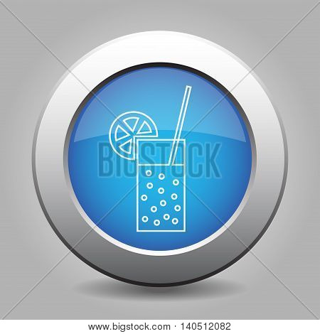blue metal button - white glass with carbonated drink straw and citrus