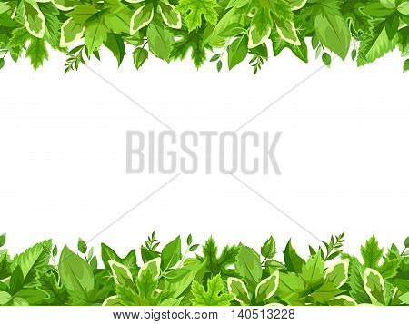 Vector horizontal seamless background with green leaves.
