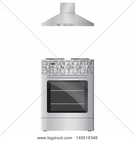 Modern electric oven silver color and extractor hood silver color. Vector realistic image. Isolated on white background.