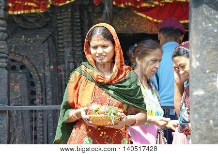 Manakamana, Np - Circa August 2012 - Woman With A Plate Of Gifts At Manakamana Hindu Temple, Circa A