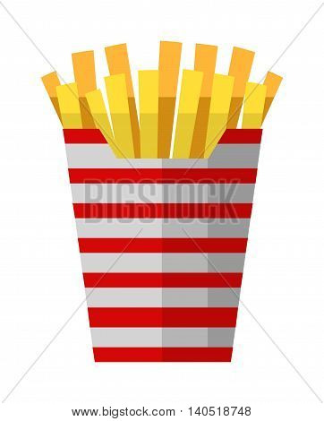 Fried potatoes fries in paper wrapper on white background. Vector illustration fried potatoes unhealthy food cooked junk. Fast food fried yellow potatoes restaurant chip prepared salty gold