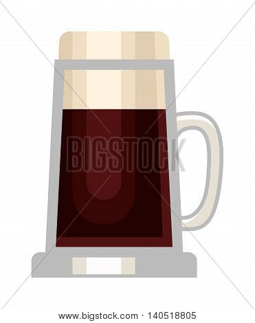 Beer glass isolated on white background. Dark beer cup alcohol alcohol drink. Beer cup mug liquid white foam and bubble cold drip refreshment