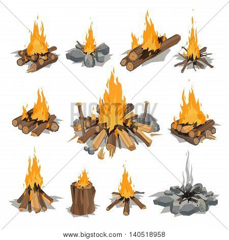 Isolated illustration of campfires logs burning bonfires. Bonfires on white background. Vector bonfire isolated and wood explosion glowing bonfire isolated. Red nature burning blazing power vector.