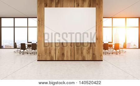 Whiteboard On Wooden Office Wall