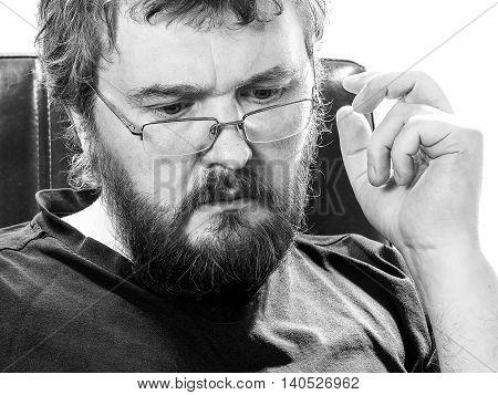 Male Portrait In Black And White