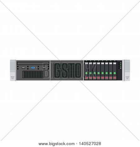 Vector Illustration of Server Unit Used by Administrators of Hosting Providers