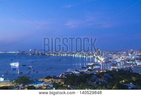 View Point in Pattaya during twilight. a popular place to visit in PattayaThailand. Pattaya city is famous about sea sport and night life entertainment.