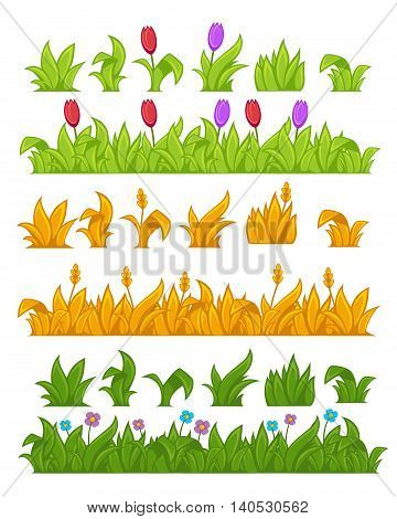 Green grass. Yellow wheat. Vector Illustration. Isolated on white.