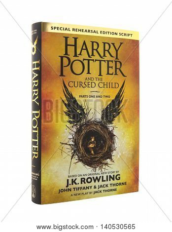 SWINDON UK - JULY 31 2016: The New Book Harry Potter and the Cursed Child Special Rehearsal Edition Script Parts One and Two by J.K. Rowling