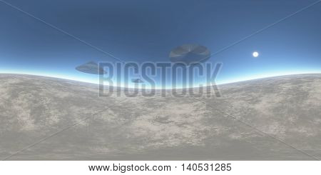 Surrealistic UFO illustration 3D rendering of unknown landscape background
