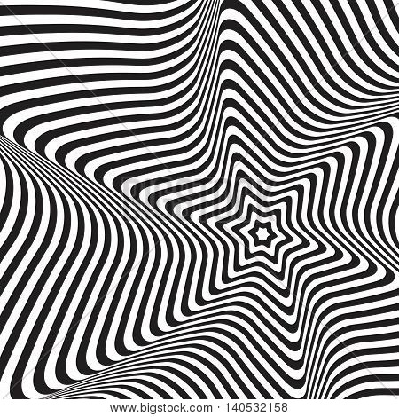 Vector abstract pattern. 3d effect background. Optical illusion.