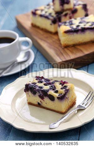 blueberry cheesecake, homemade dessert