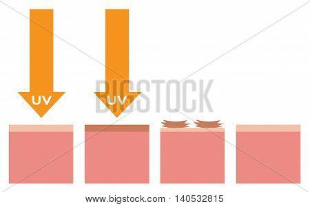 uv and dead skin , vector , orange uv version