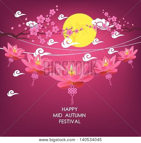 Mid Autumn Festival vector background with lotus lantern and plum blossom