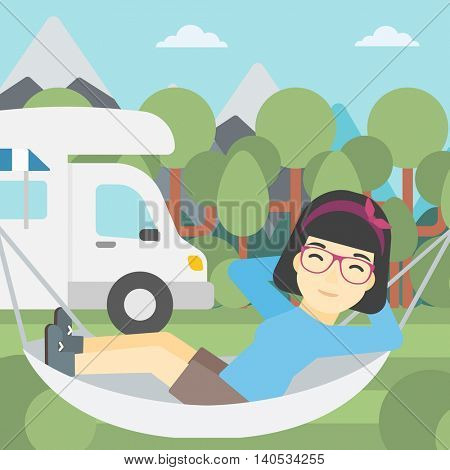 An asian woman lying in hammock in front of motor home in the forest. Woman resting in hammock and enjoying vacation in camper van. Vector flat design illustration. Square layout.