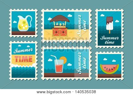 Bar beach vector stamp . Summer time postmark. Vacation eps 10