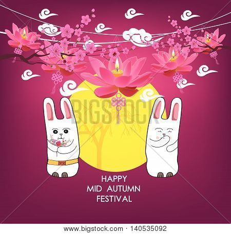 Moon rabbits for celebration Mid Autumn Festival , Translation Happy Mid Autumn Festival