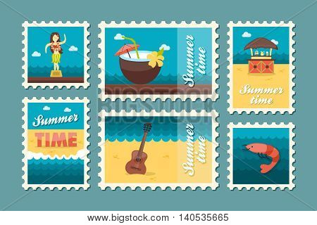 Island beach vector stamp set. Summer time postmark. Vacation eps 10