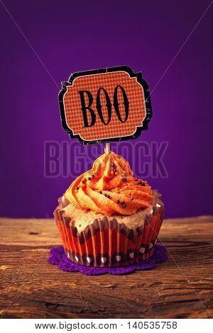 Halloween cupcake with a cake pick