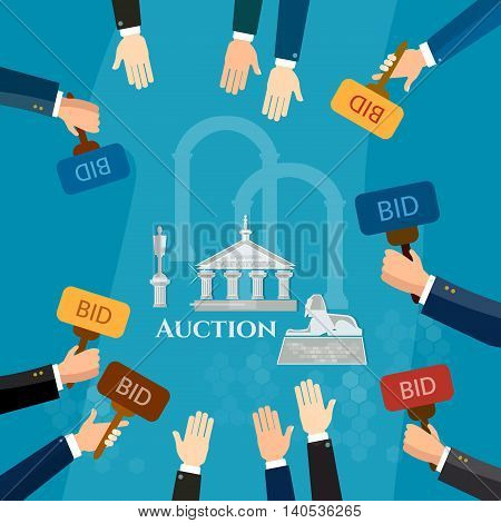 Auction and bidding selling antiques sale paintings art object culture vector illustration