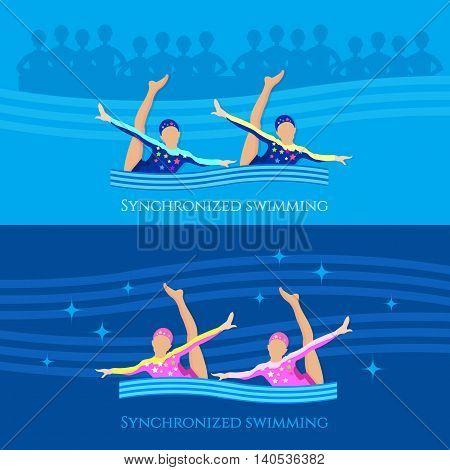 Synchronized swimming banner girls team water sports vector illustration