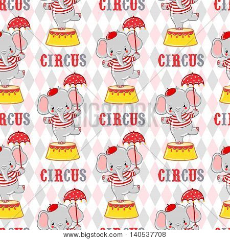 Seamless circus background with elephants standing on a circus tub.