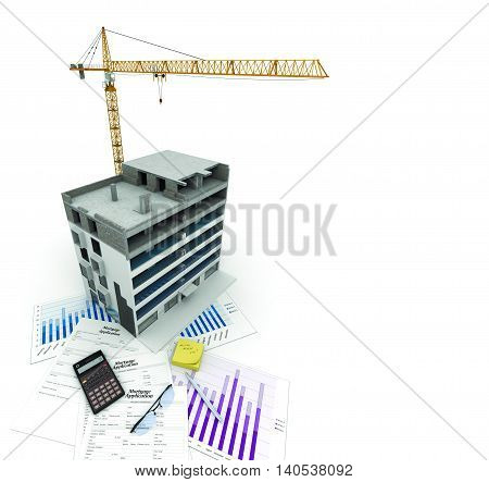 Architectural 3D background with a building model. Part of architectural project, architectural plan, technical project, drawing technical letters, architecture planning on paper, construction plan