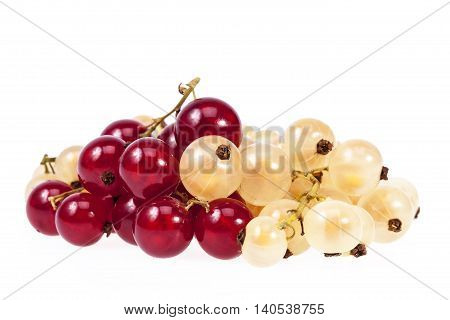 Heap of white currant and redcurrant isolated on white background