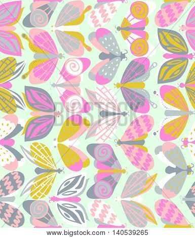 Seamless Pattern With Beautiful Bright Butterflies