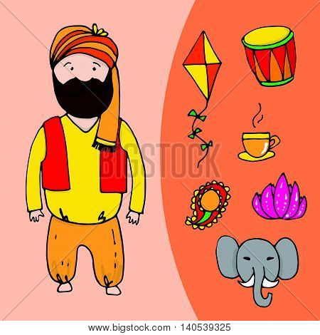 Indian Bearded Man With Set Of Indian Elements