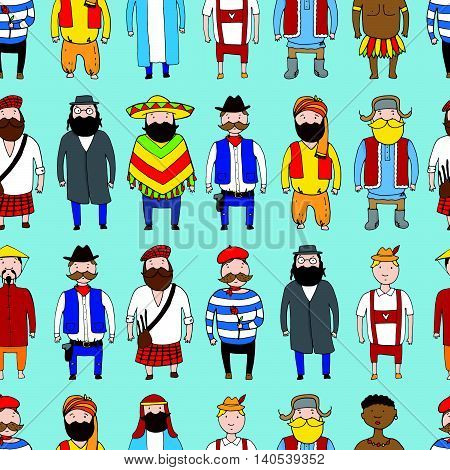 Seamless Pattern With Different Nationality People