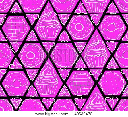 Seamless Pattern With Different Sweet Food