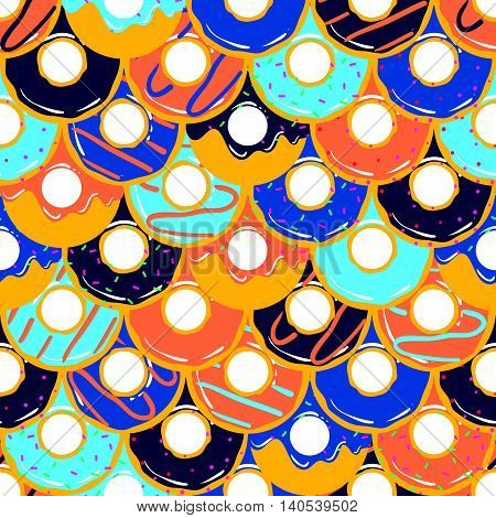 Seamless Pattern With Different Sweet Donuts